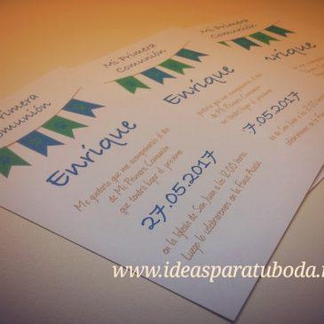Invitaciones Comunión Banderines