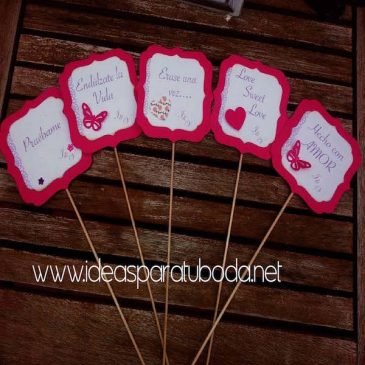 Carteles decorativos para candy bar de boda Sweet Love