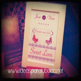 Lámina cartel para candy bar de boda Sweet Love