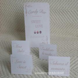 Pack de carteles y lámina para candy bar de boda Dulce Noche