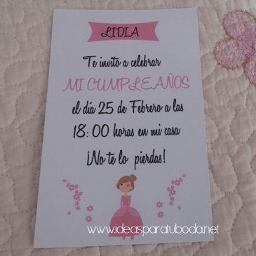 Invitación de Fiestas y Cumpleaños Princesa