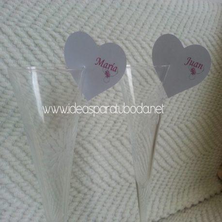 Marca sitio ( marcasitio ) de Corazon para invitados de boda Flower