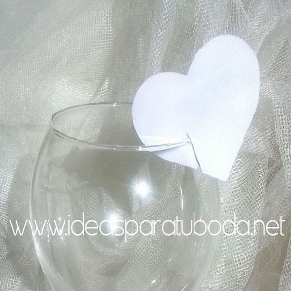 Marca sitio ( marcasitio ) de Corazon para invitados de boda Snow