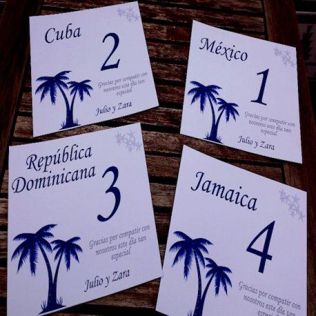 Número de Mesa para boda Beach