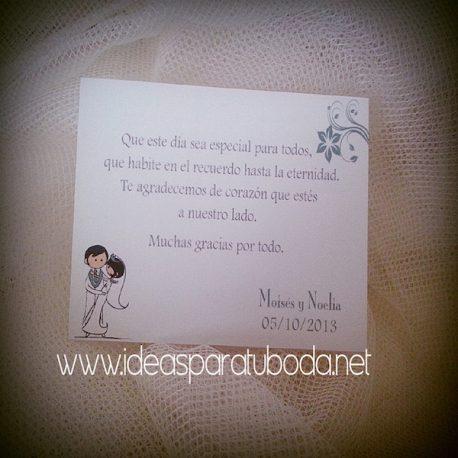 Tarjeta de Agradecimiento para boda Beso