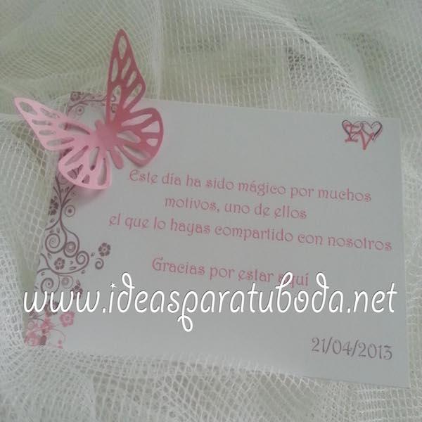 Tarjeta de Agradecimiento para boda Pink