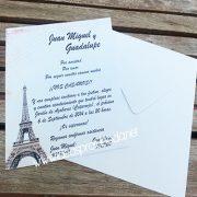 invitacion boda paris sobre blanco