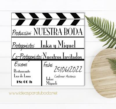 Invitacion cine boda tematica