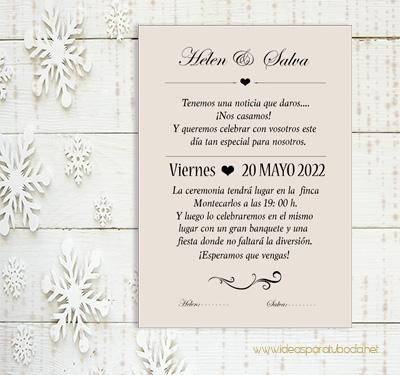 invitacion kraft vintage boda