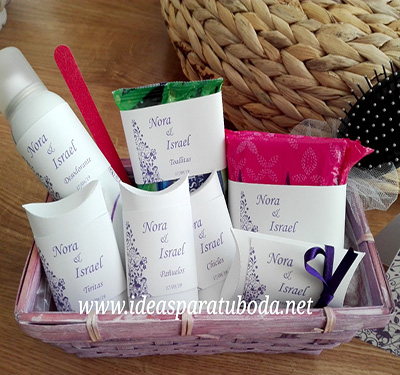 cesta baño boda lila chicas