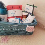 cesta baño cestibaño tropical boda palmeras