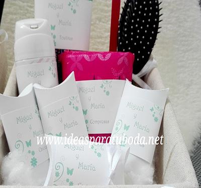 cestas baño boda mint verde mariposas flores chicos chicas