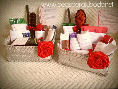 cestas baño boda red pack