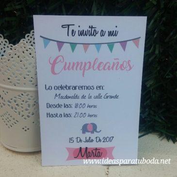 Invitación Cumpleaños Banderines