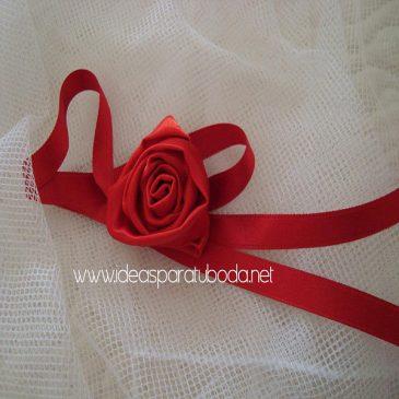 ramillete pulsera boda modelo rojo