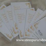 tarjetas alfiler boda dorado