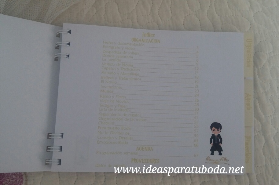 agenda boda harry potter índice