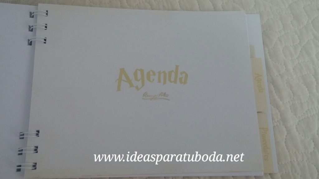 agenda boda harry potter interior