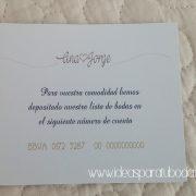 tarjeta número cuenta invitación boda