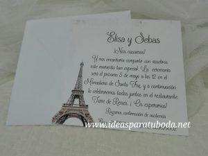 invitación boda parís vintage
