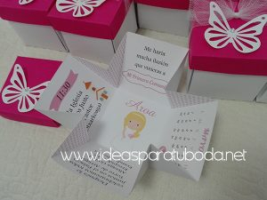 invitación comunión caja mariposa