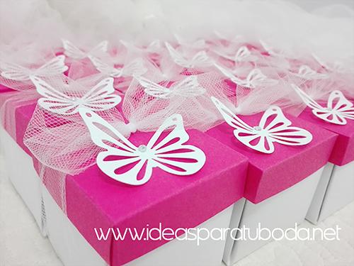 invitación comunión caja rosa mariposa detalle