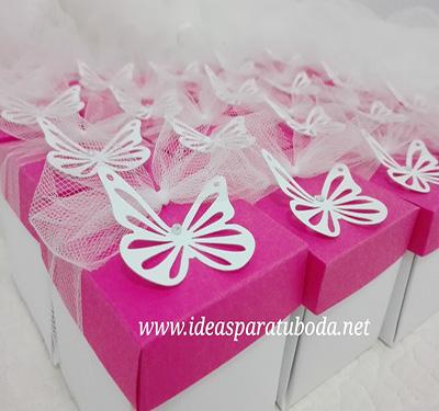 invitacion caja comunion rosa fucsia