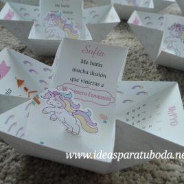 invitacion comunion unicornio mariposa interior