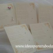 tarjeta alfiler boda beige dorado