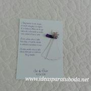 tarjeta alfiler boda vestido novia lila