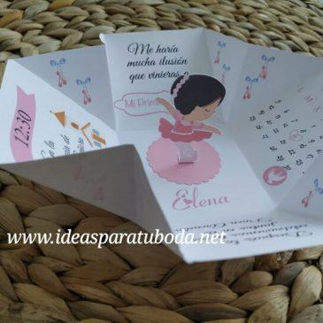 Invitación Comunión bailarina caja
