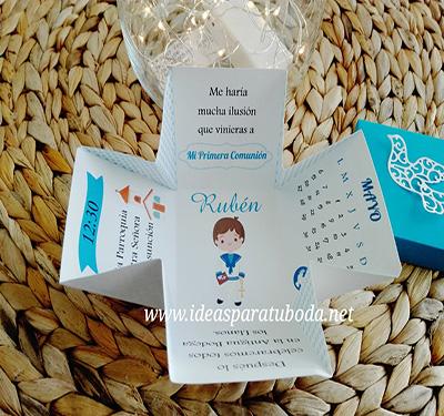 invitacion caja comunion azul puntos