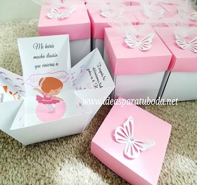 invitacion caja comunion bailarina 3d rosa mariposa