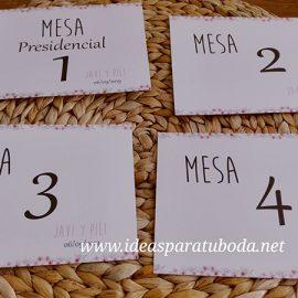 Números de Mesas