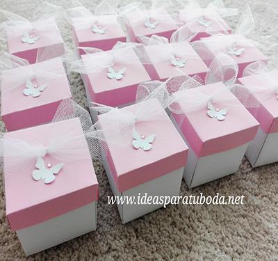 invitacion caja comunion tapa rosa mariposa troquelada pequeña