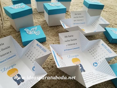 invitacion comunion caja azul blond