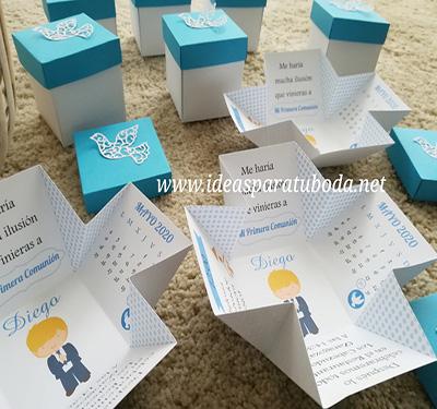 invitacion comunion caja azul niño modelo blond