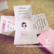 invitacion comunion caja rosa mariposa enjoy