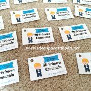 tarjeta regalo comunion azul blond