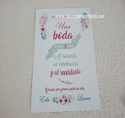 cartel bienvenida boda flores