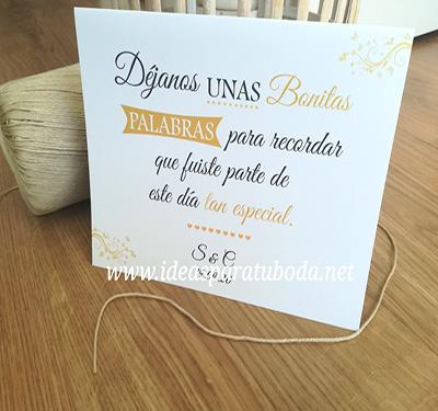 cartel firmas boda libro palabras bonitas