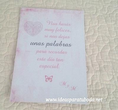 cartel firmas boda rosa vintage