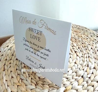 cartel mesa de firmas boda love