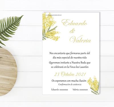 Invitacion boda Mimosas
