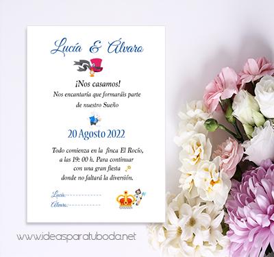 Invitacion boda maravillas tematica