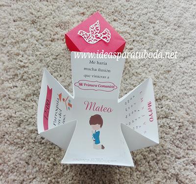 invitacion caja comunion niño tapa roja