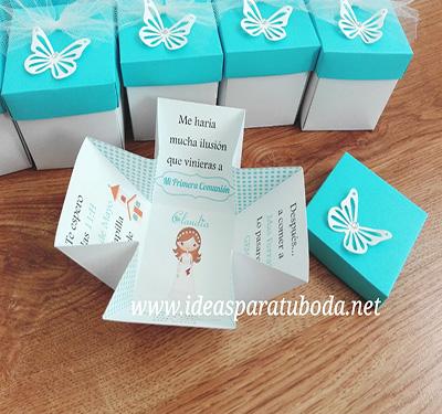 invitacion caja comunion turquesa original mariposa grande troquelada