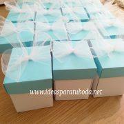 invitacion caja comunion turquesa personalizada