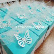 invitacion caja comunion turquesa presentacion lazo mariposa troquelada personalizada